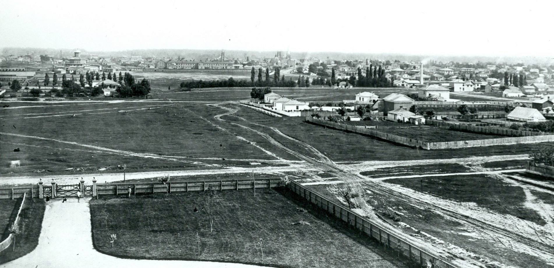 A black and white photo of Old North in 1870s