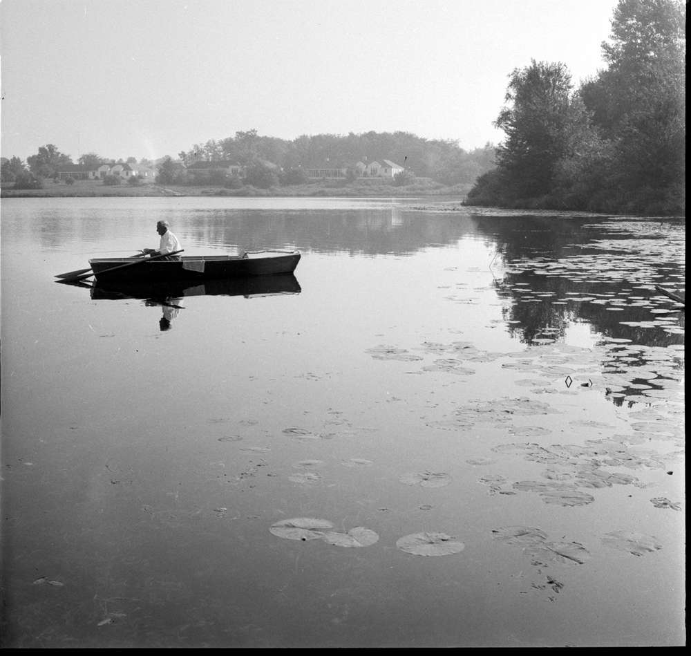 A man sits alone in a rowboat in a pond surrounded by trees. There are buildings partially visible in the distance behind him.