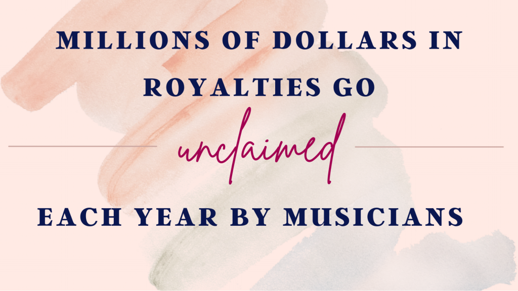 A graphic explaining that millions of dollars in royalties go unclaimed each year by musicians.