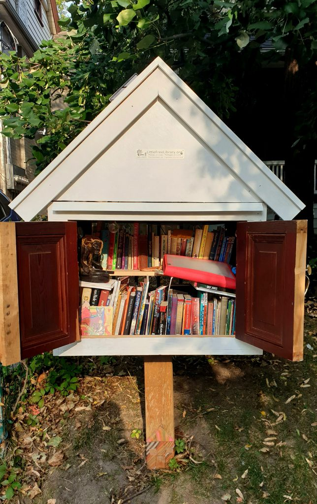 A Little Free Library full of books stands in the ground, doors open.
