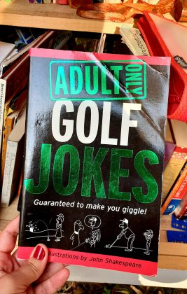 """A book titled """"Adult Only Golf Jokes"""""""