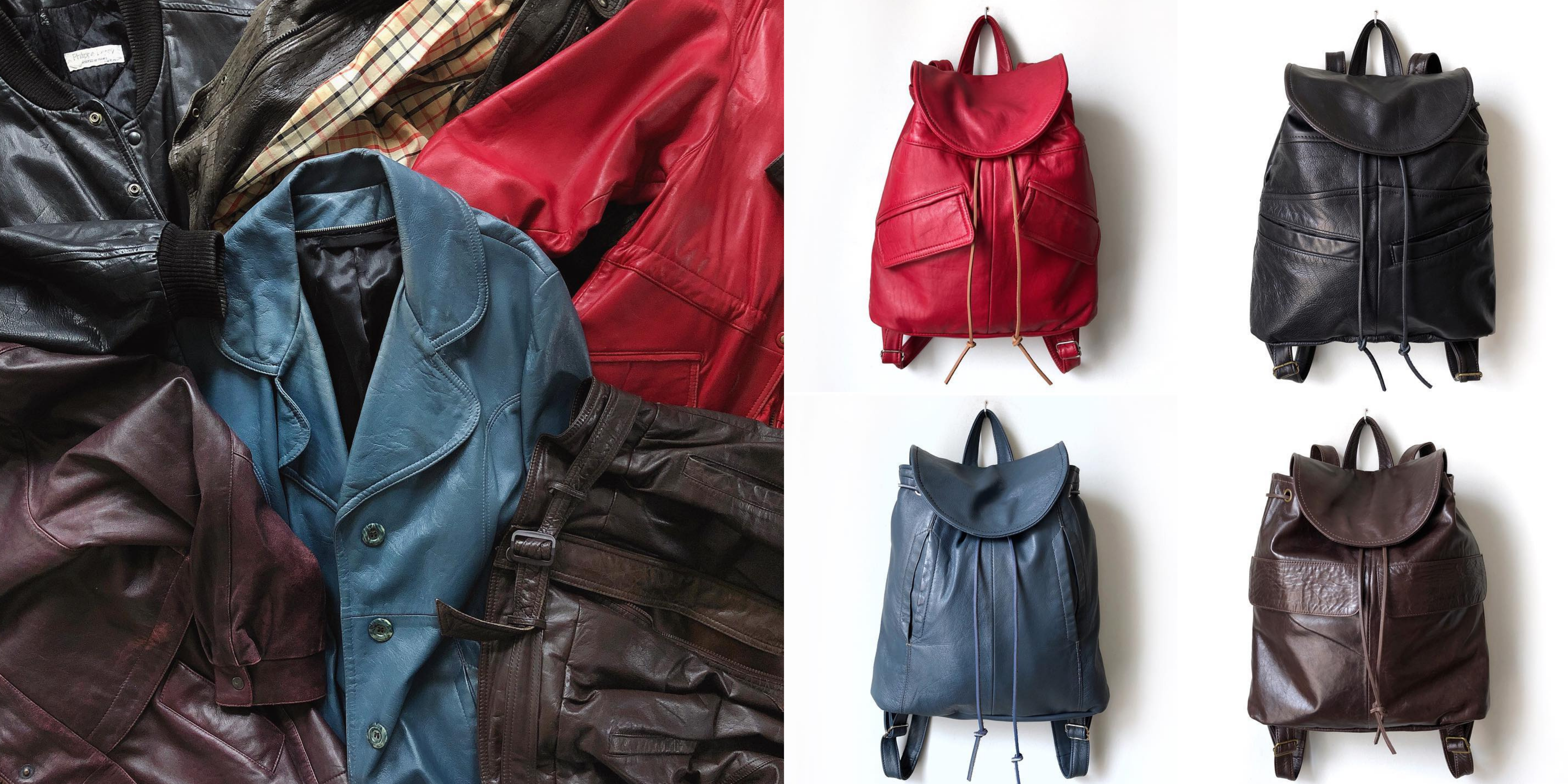 Image on left: A pile of leather coats Image on right four leather backpacks made by The COB Shop