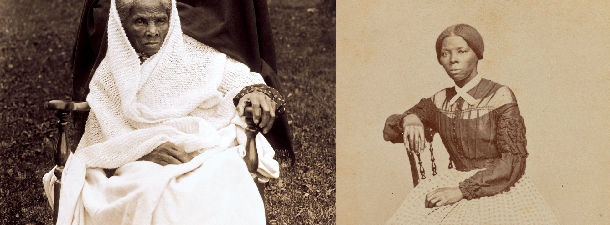Two photographs of Harriet Tubman. On the left, her in her old age. On the right, her in her youth