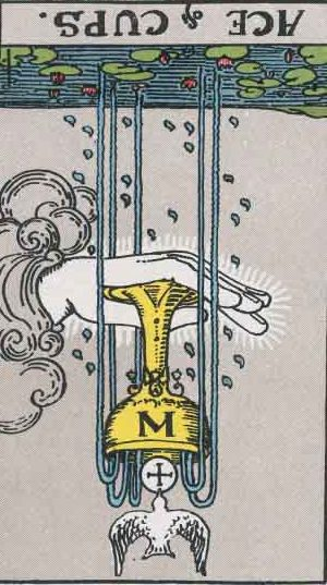 The upside-down Ace of Cups tarot card from the Rider-Waite tarot deck