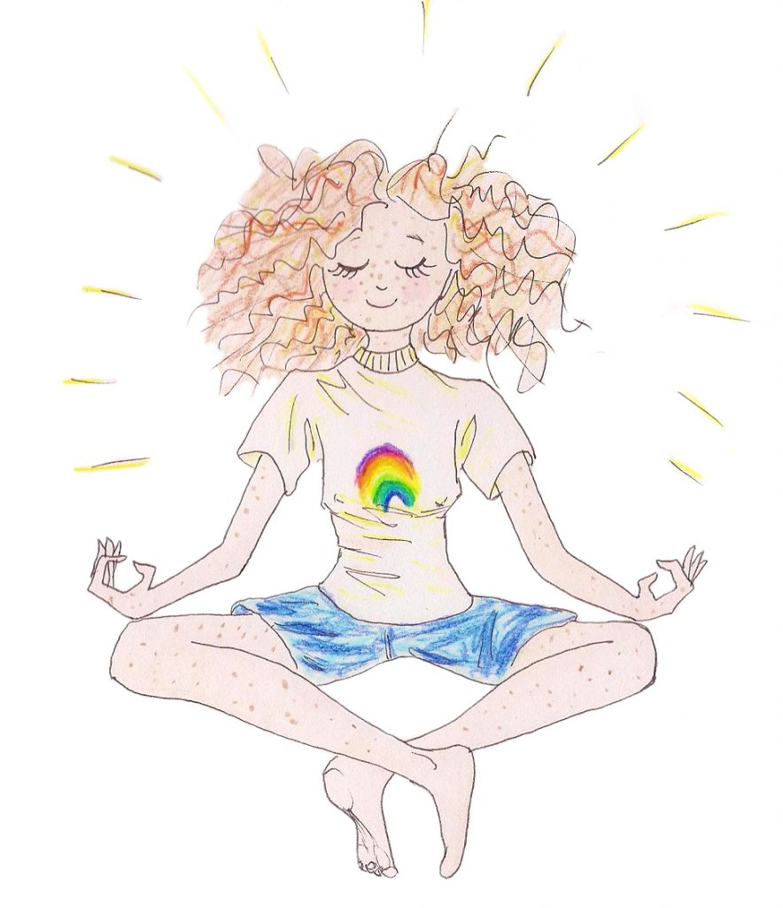 A cartoon of a curly-haired woman meditating in a cross-legged pose. Loneliness