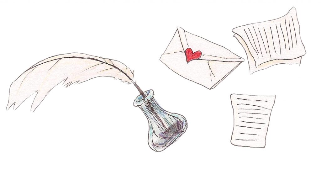 An illustration of three letters and a quill in a bottle of ink showing how letter writing can help loneliness.