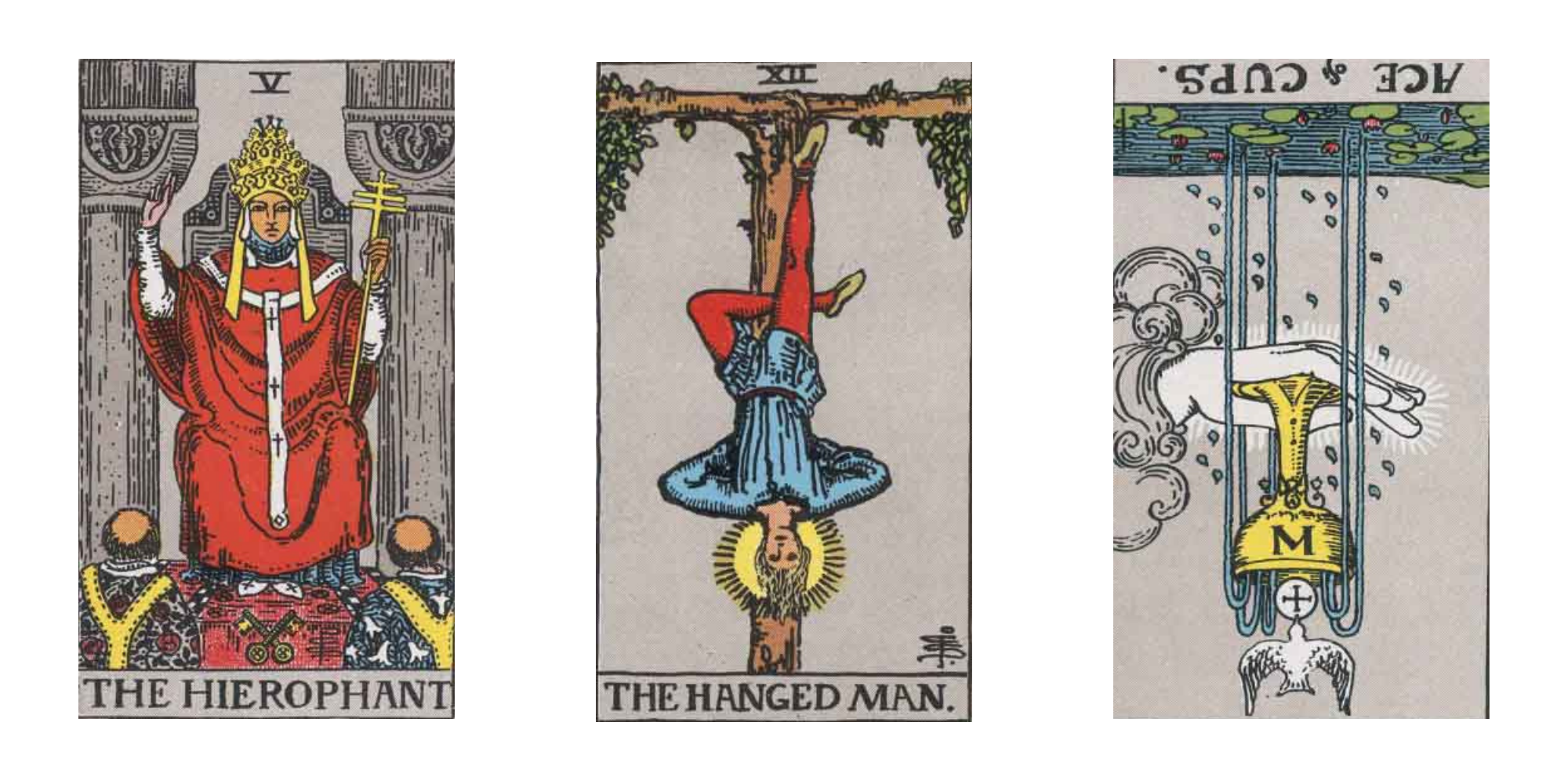 Three tarot cards - The Hierophant, The Hanged Man, and the reverse Ace of Cups - sit in a row after being pulled for a summer tarot reading.