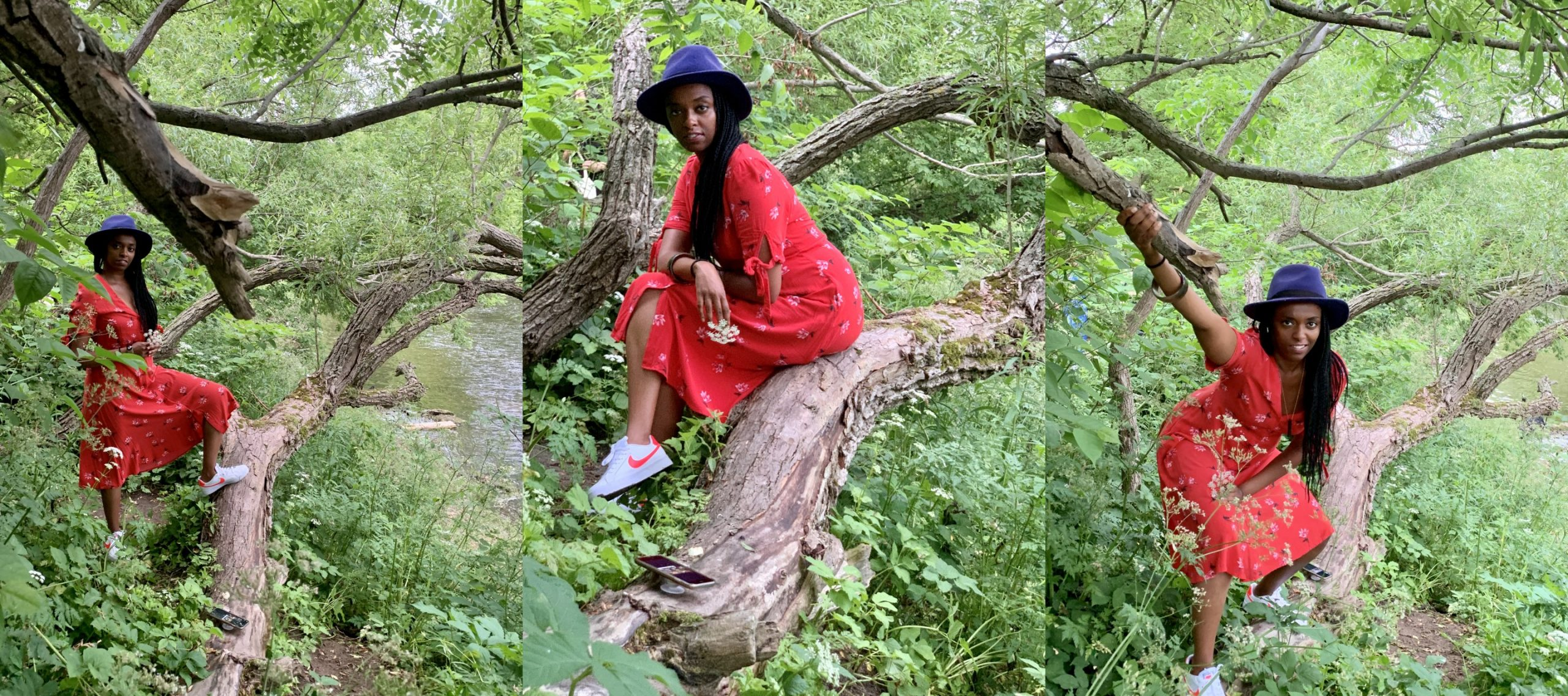 Three photos in a collage of a woman in red sitting on a tree trunk. She is a rude girls member