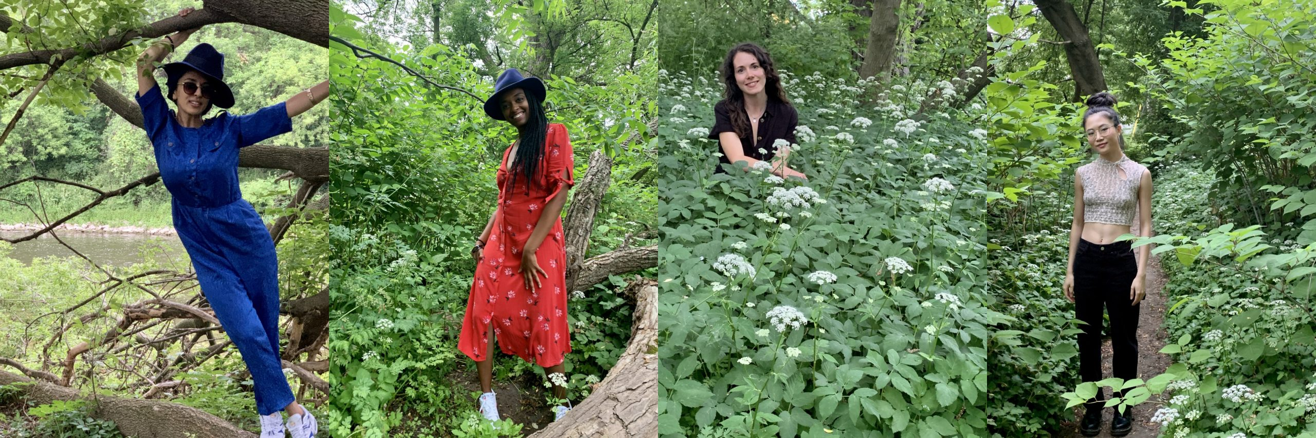 Four photos collaged together, each with a female-identifying person from Rude Girls London featured surrounded by nature.