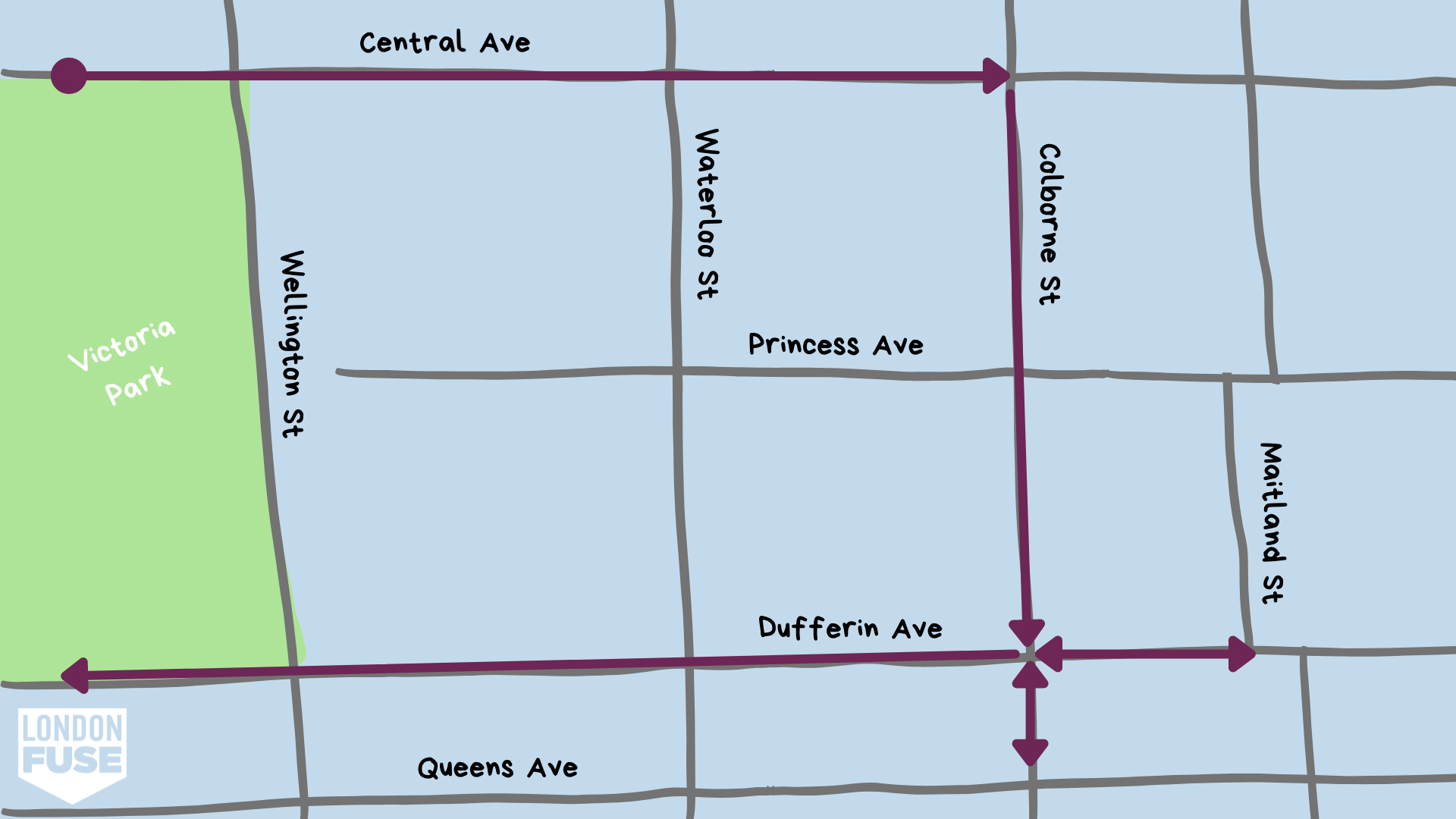 Map of Woodfield's audio tours