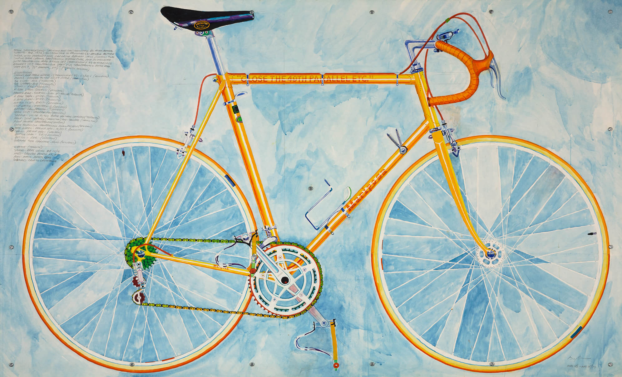 A yellow/orange bicycle drawn/painted on a blue background. Doors Open
